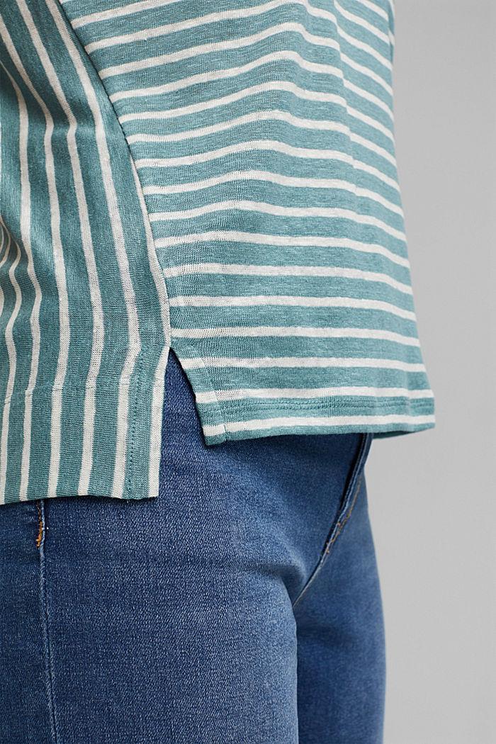 Van 100% linnen: T-shirt met strepen, DARK TURQUOISE, detail image number 5