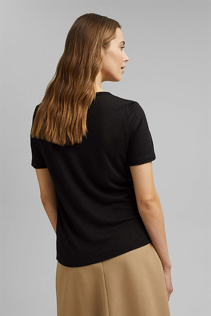 Aus Leinen: Basic T-Shirt, BLACK, detail image number 3