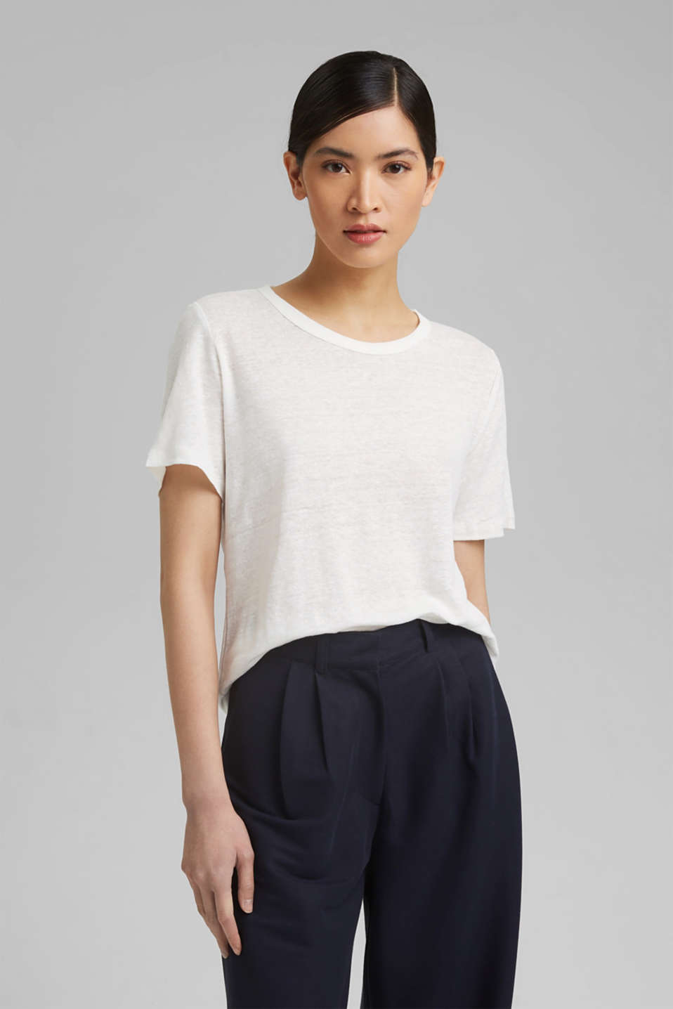 Esprit - Made of linen: Basic T-shirt