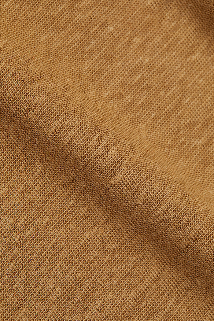 Made of linen: Basic T-shirt, BARK, detail image number 4