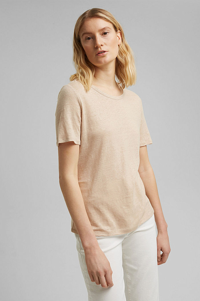 Made of linen: Basic T-shirt, DUSTY NUDE, detail image number 0
