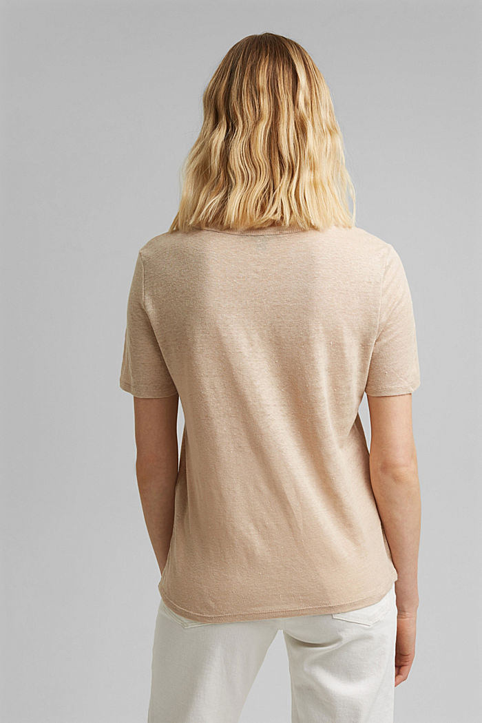 Made of linen: Basic T-shirt, DUSTY NUDE, detail image number 3