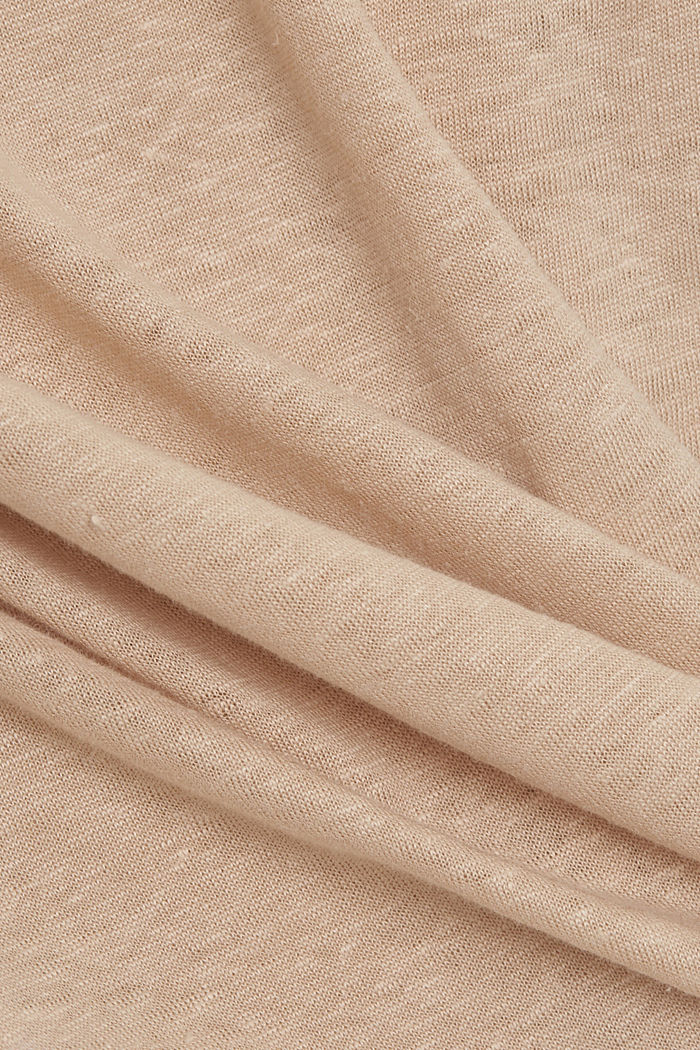 Made of linen: Basic T-shirt, DUSTY NUDE, detail image number 4