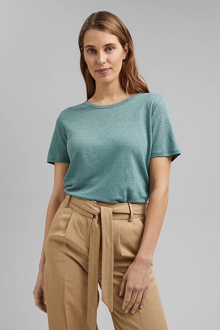 Made of linen: Basic T-shirt, DARK TURQUOISE, detail image number 0