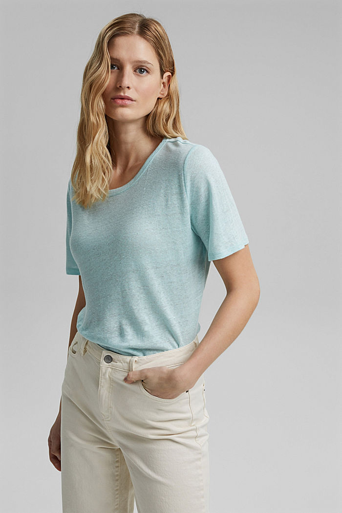 Aus Leinen: Basic T-Shirt, LIGHT TURQUOISE, detail image number 0