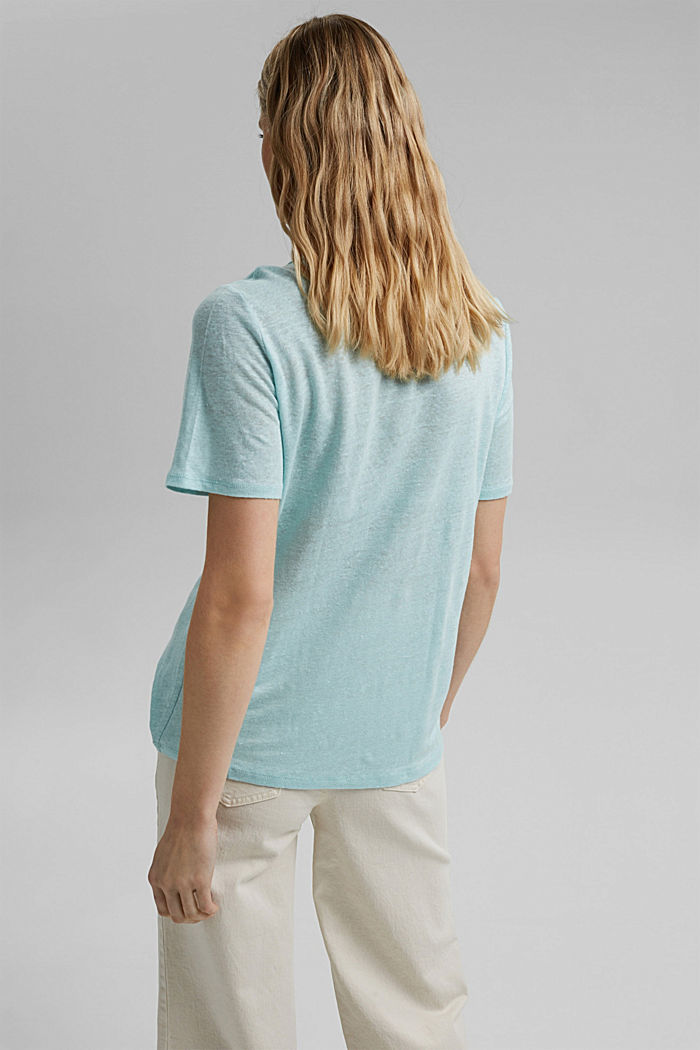 Aus Leinen: Basic T-Shirt, LIGHT TURQUOISE, detail image number 3