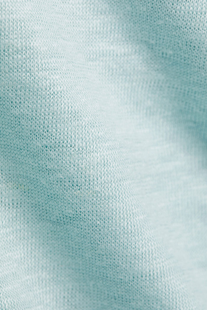 Aus Leinen: Basic T-Shirt, LIGHT TURQUOISE, detail image number 4