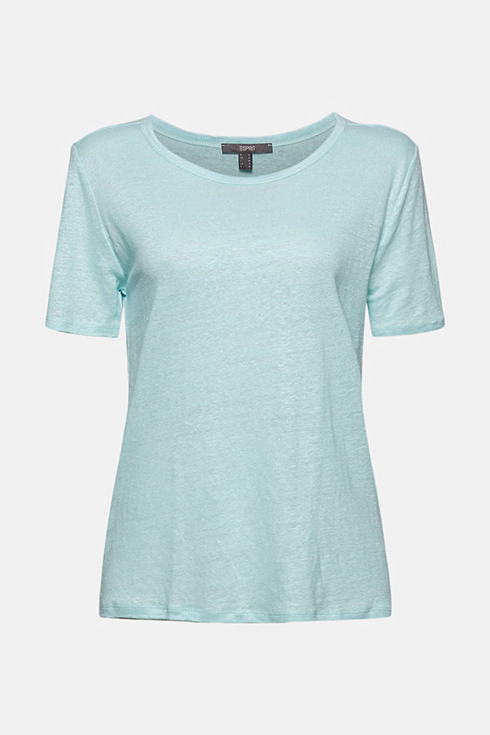 Made of linen: Basic T-shirt, LIGHT TURQUOISE, detail image number 5