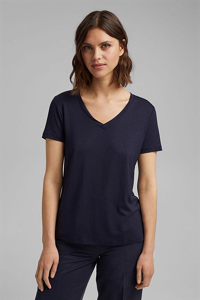 (TENCEL™) lyocell T-shirt, NAVY, detail image number 0