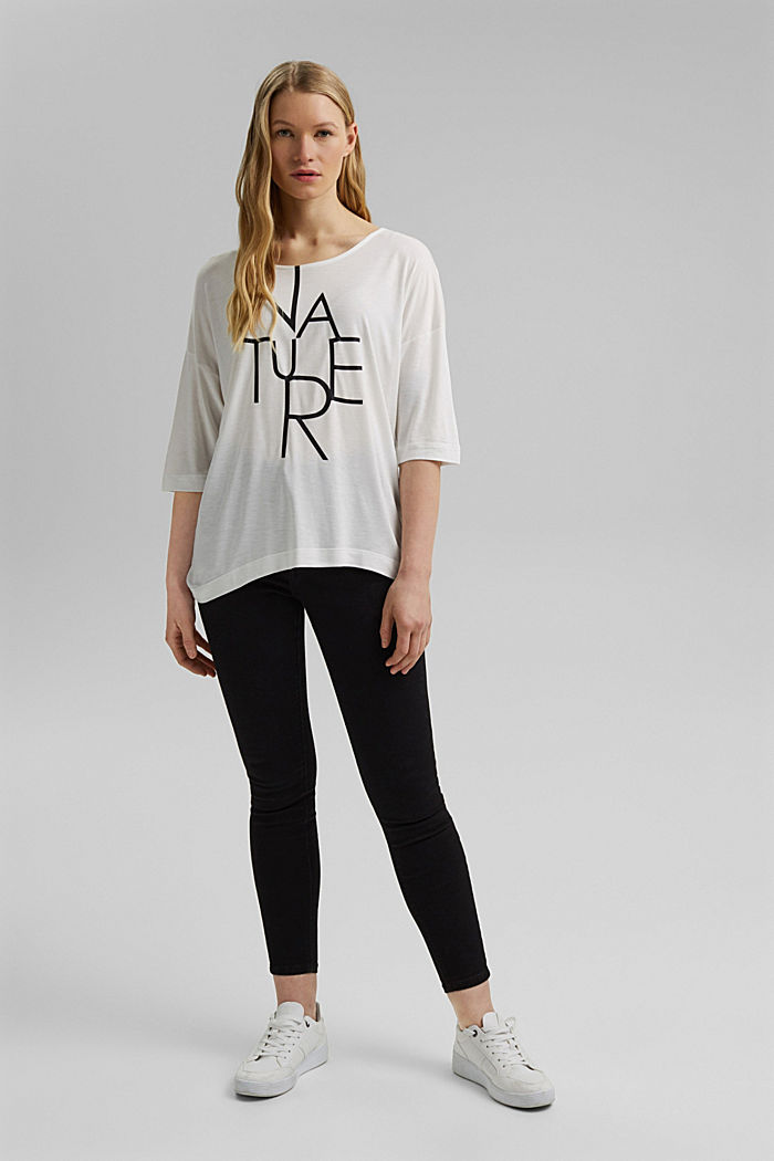 Fließendes T-Shirt aus LENZING™ ECOVERO™, OFF WHITE, detail image number 5