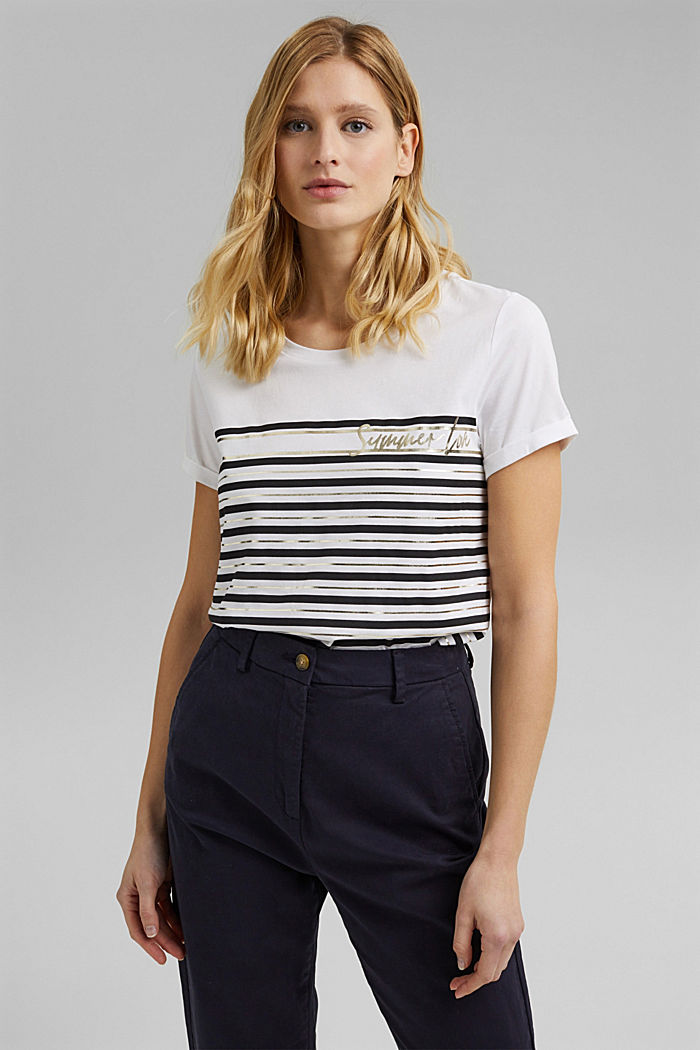 Striped T-shirt with a golden print, OFF WHITE, detail image number 0