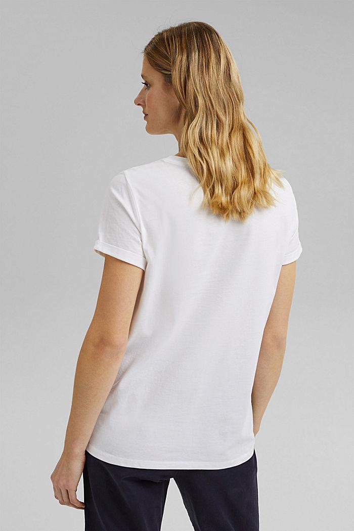 T-shirt met strepen en goudkleurige print, OFF WHITE, detail image number 3