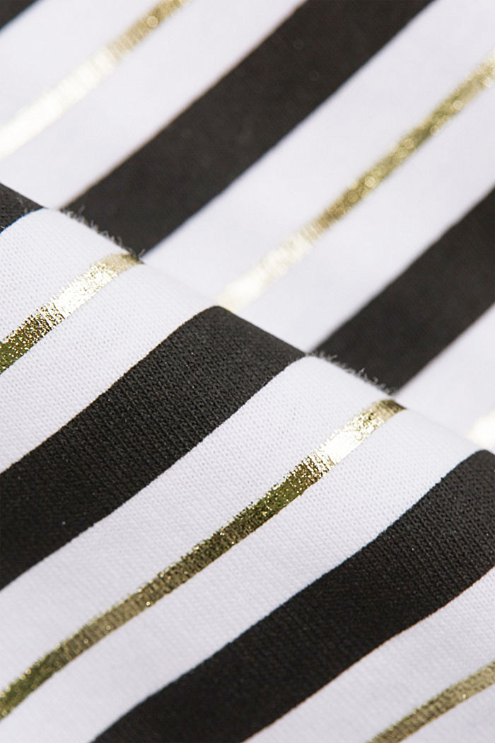 Striped T-shirt with a golden print, OFF WHITE, detail image number 4