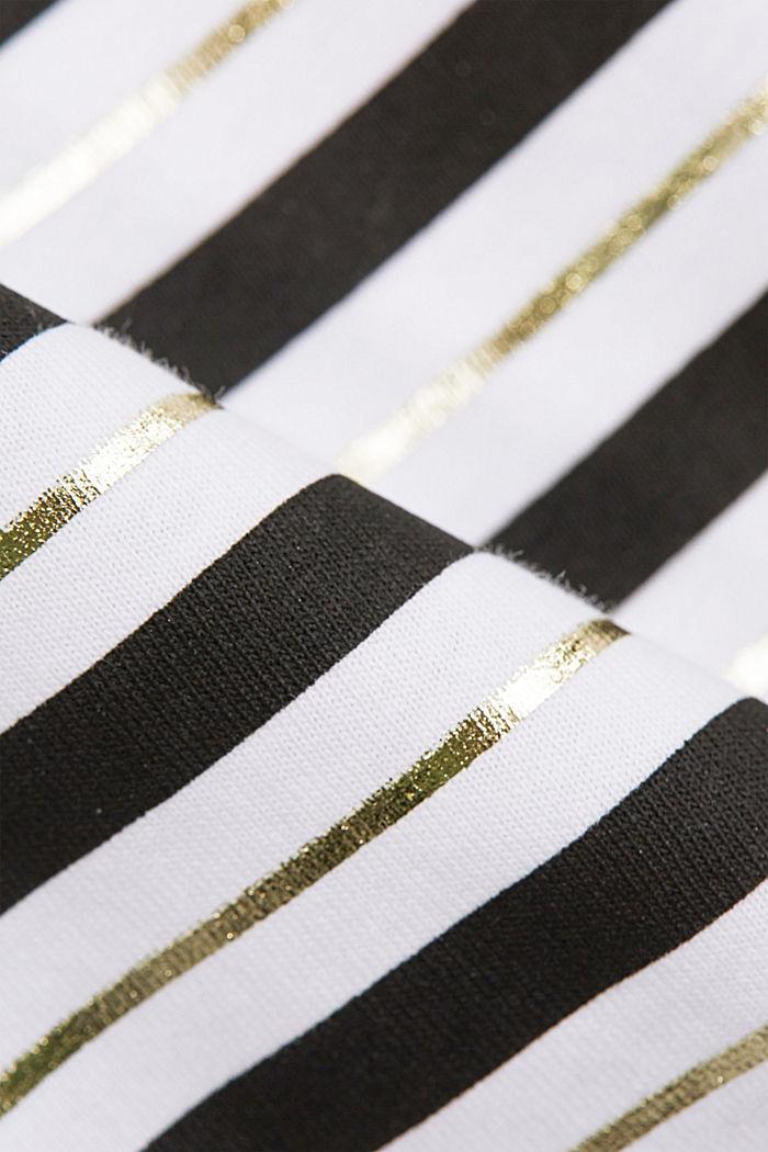 T-shirt met strepen en goudkleurige print, OFF WHITE, detail image number 4