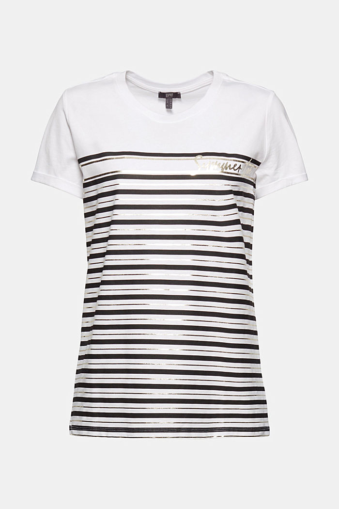 Striped T-shirt with a golden print, OFF WHITE, detail image number 5