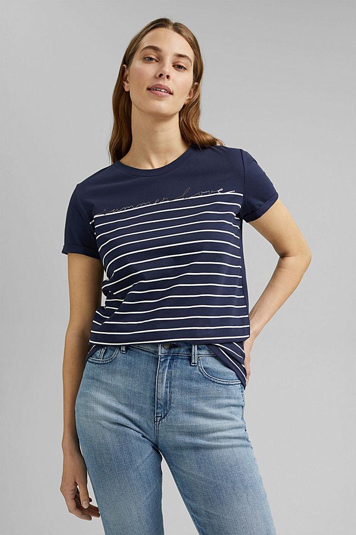 T-shirt med striber og guldfarvet print, NAVY, detail image number 0