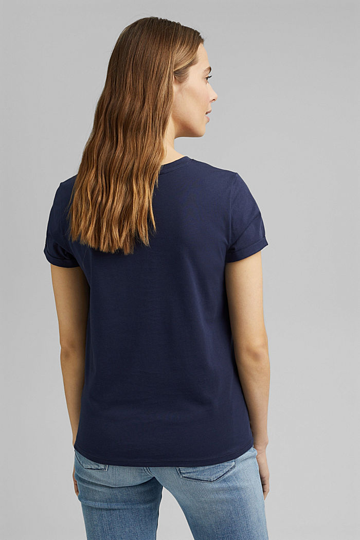T-shirt med striber og guldfarvet print, NAVY, detail image number 3