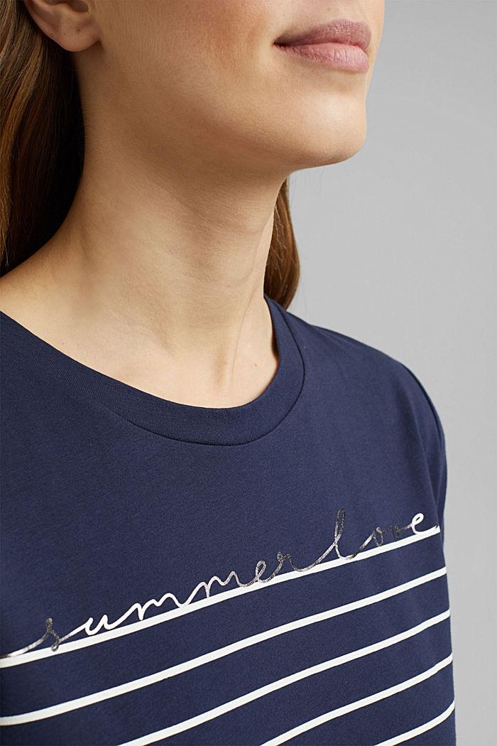 T-shirt med striber og guldfarvet print, NAVY, detail image number 2