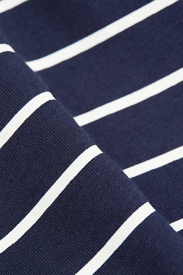 Striped T-shirt with a golden print, NAVY, detail image number 4