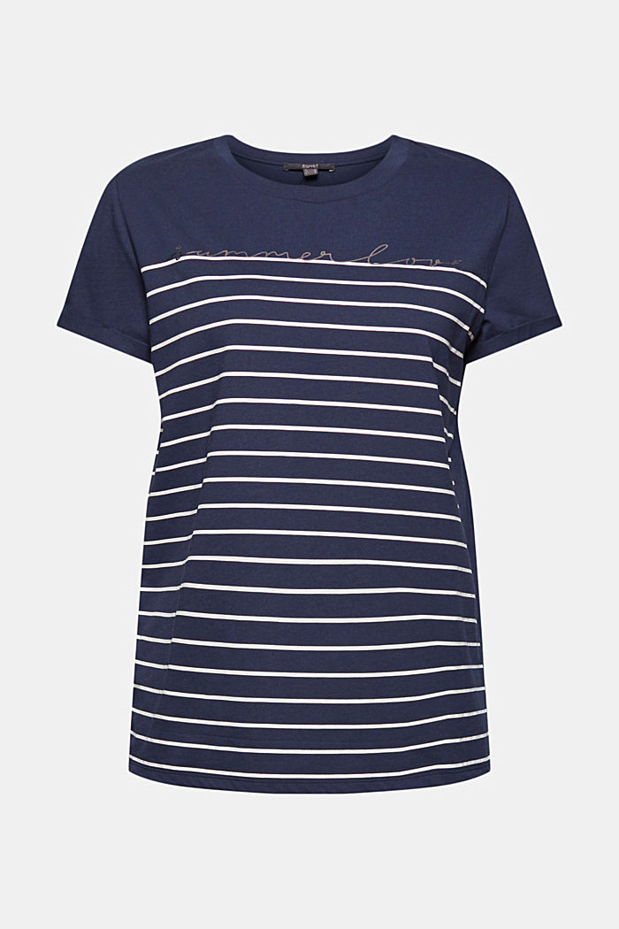 Striped T-shirt with a golden print, NAVY, detail image number 5