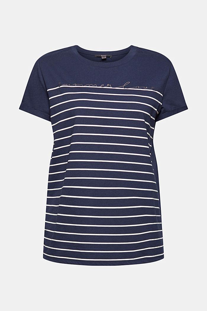 T-shirt med striber og guldfarvet print, NAVY, detail image number 5