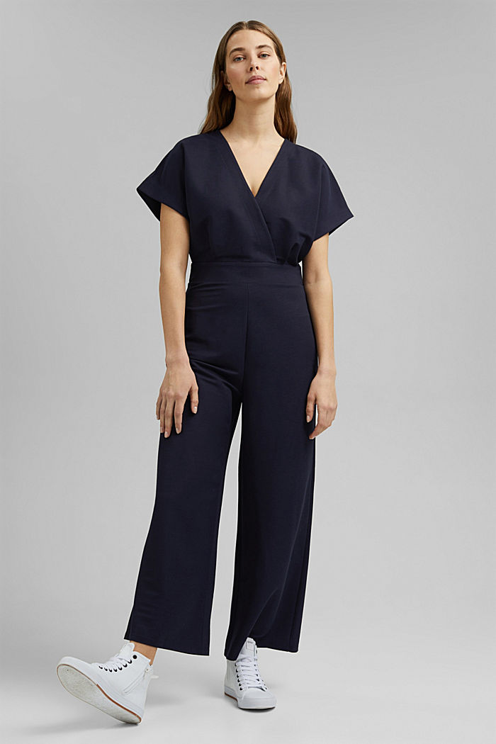 Jumpsuit with a wide leg and piqué texture, NAVY, detail image number 0