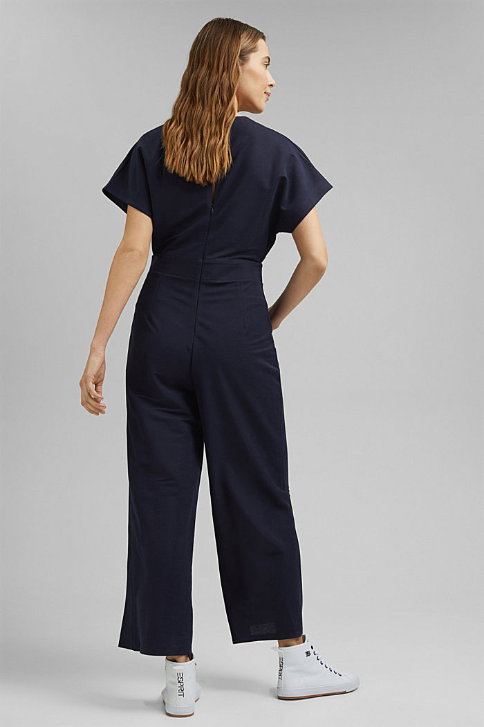 Jumpsuit with a wide leg and piqué texture, NAVY, detail image number 2