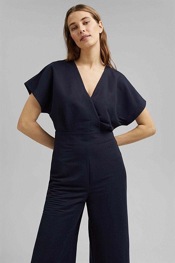 Jumpsuit with a wide leg and piqué texture, NAVY, overview