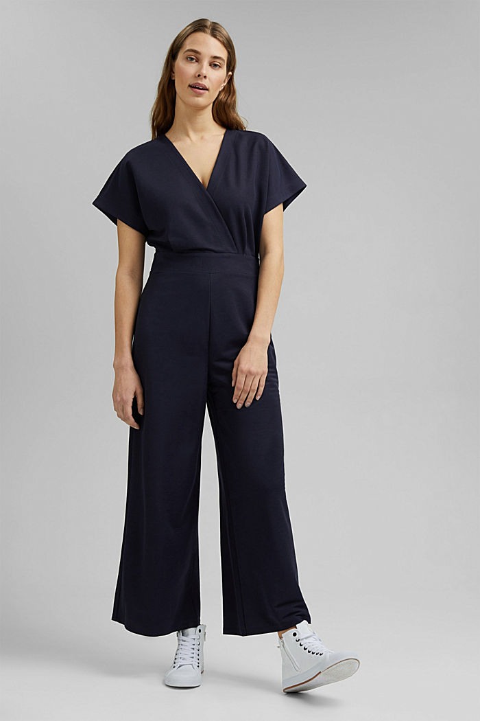 Jumpsuit with a wide leg and piqué texture, NAVY, detail image number 1