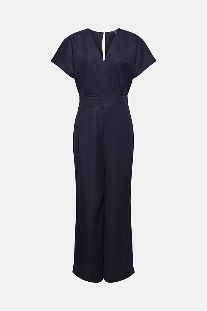 Jumpsuit with a wide leg and piqué texture, NAVY, detail image number 7