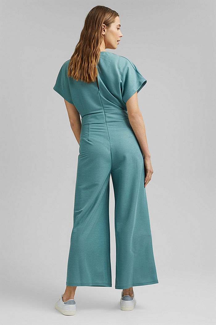 Jumpsuit with a wide leg and piqué texture, DARK TURQUOISE, detail image number 2