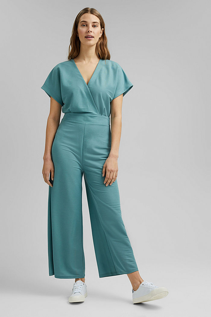 Jumpsuit with a wide leg and piqué texture, DARK TURQUOISE, detail image number 5