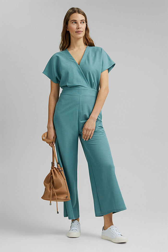 Jumpsuit with a wide leg and piqué texture, DARK TURQUOISE, detail image number 1