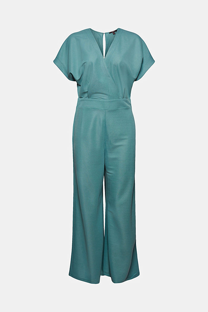 Jumpsuit with a wide leg and piqué texture, DARK TURQUOISE, detail image number 7