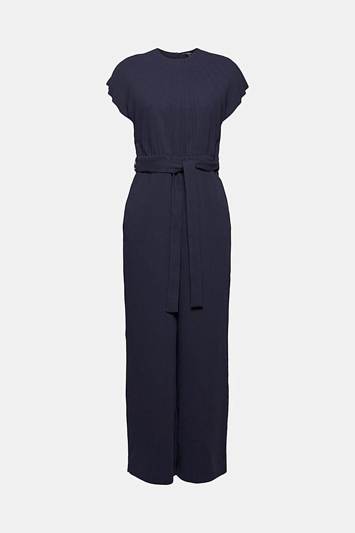 Crêpe jumpsuit with plissé pleats