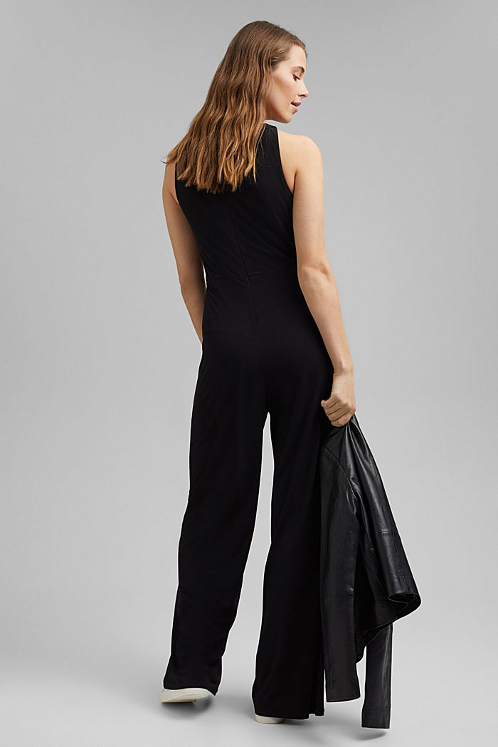 Recycled: jersey jumpsuit with a wide leg, BLACK, detail image number 2