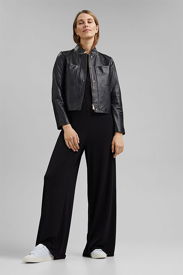 Recycled: jersey jumpsuit with a wide leg, BLACK, detail image number 1