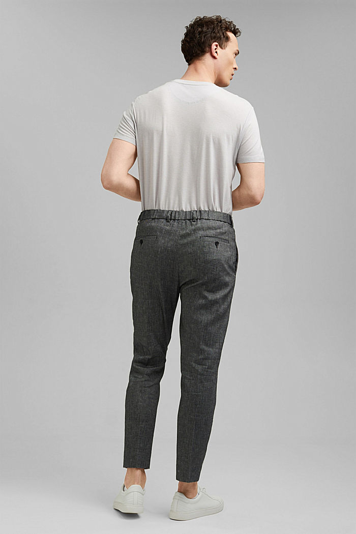Trousers made of an organic linen blend, BLACK, detail image number 1