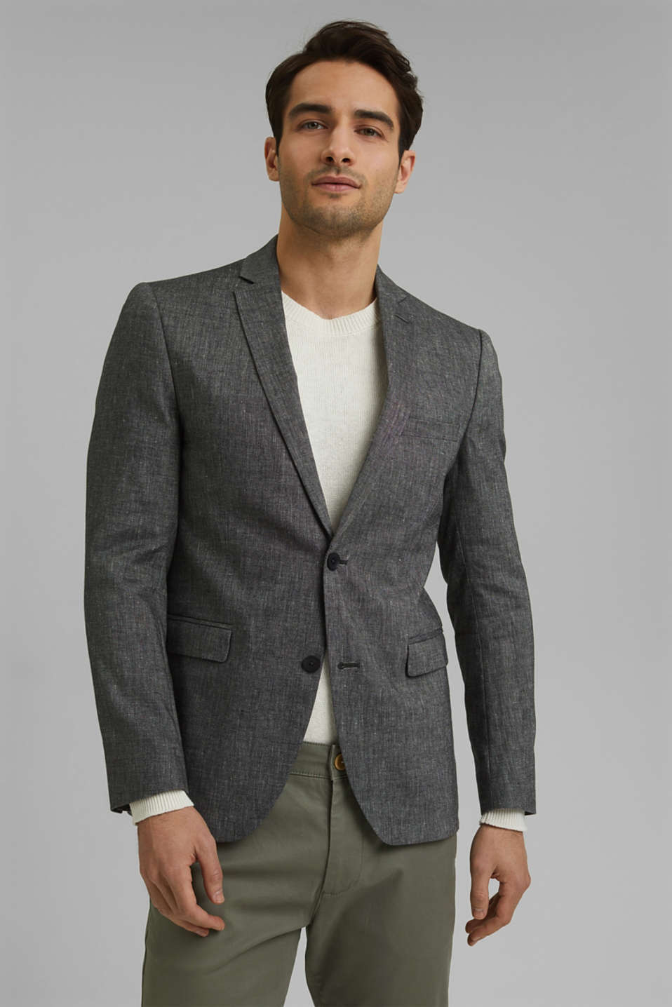 Esprit - Sports jacket with a fine texture made of an organic cotton/linen blend