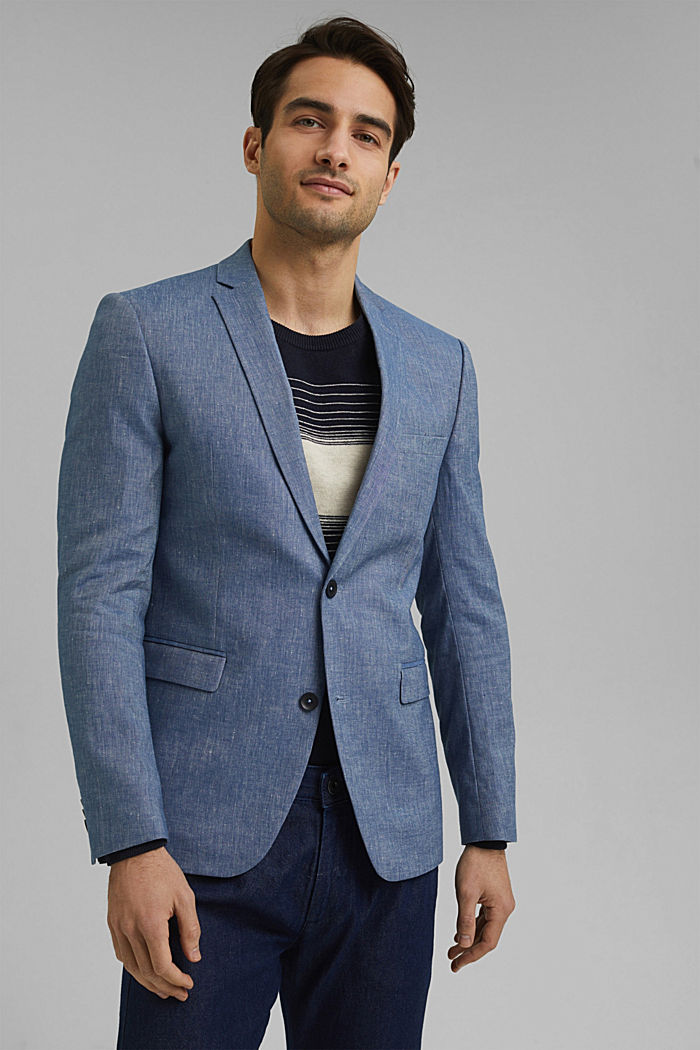 Sports jacket with a fine texture made of an organic cotton/linen blend, BLUE, detail image number 0