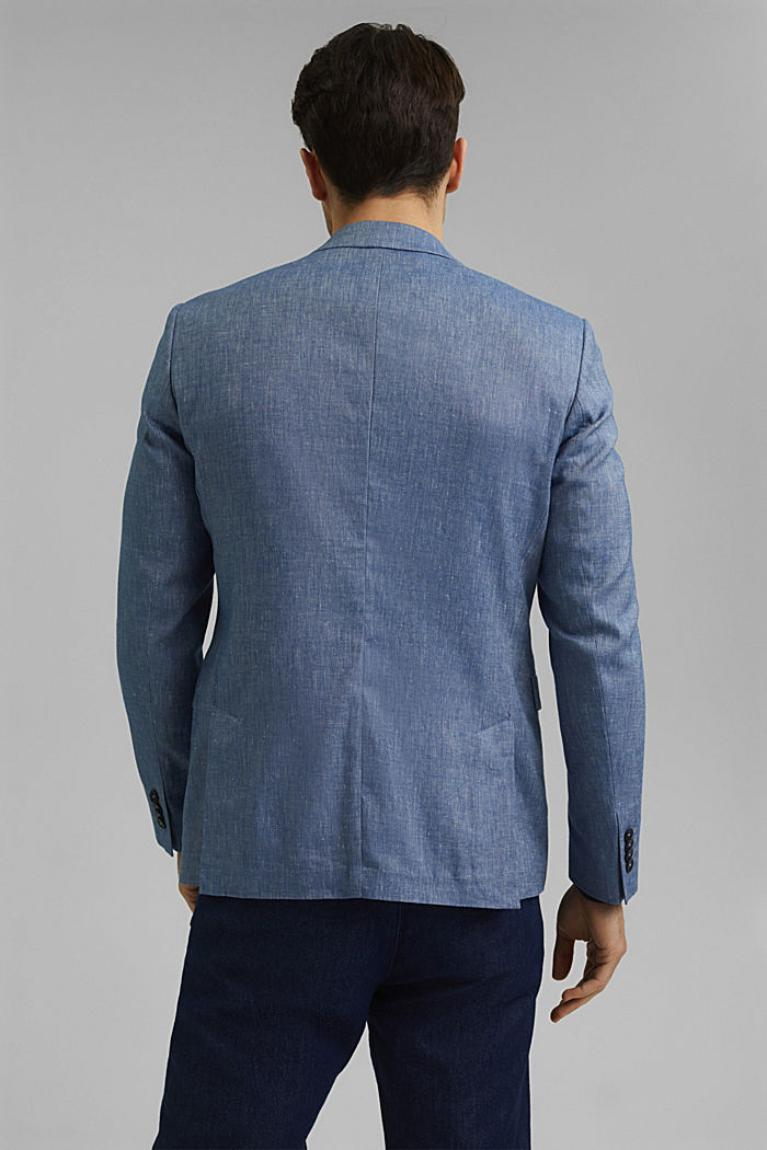 Sports jacket with a fine texture made of an organic cotton/linen blend, BLUE, detail image number 3