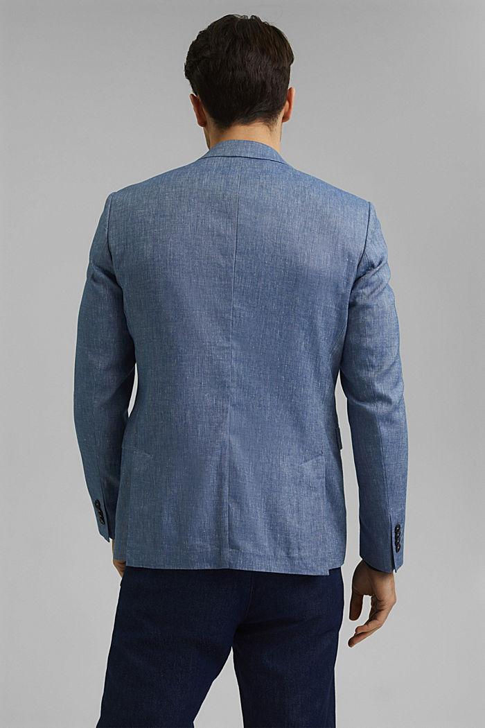 En lin bio mélangé: la veste finement texturée, BLUE, detail image number 3