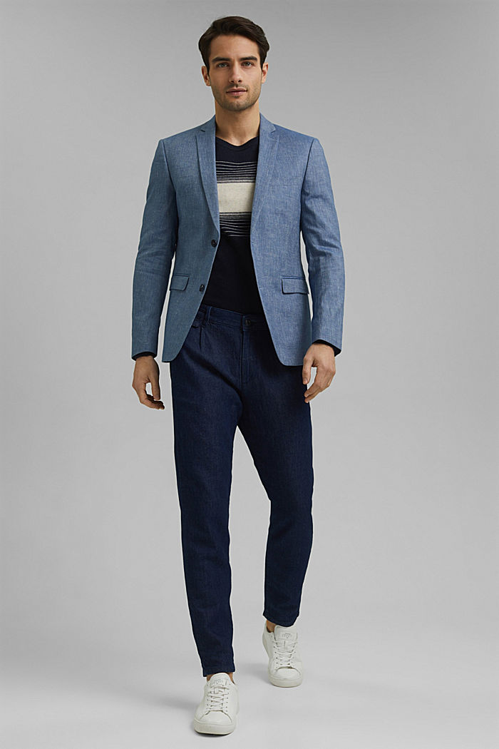 Sports jacket with a fine texture made of an organic cotton/linen blend, BLUE, detail image number 1