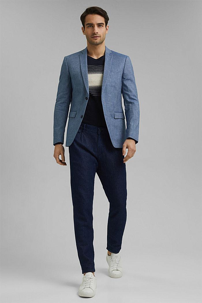 En lin bio mélangé: la veste finement texturée, BLUE, detail image number 1