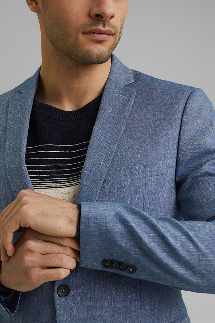 Sports jacket with a fine texture made of an organic cotton/linen blend, BLUE, detail image number 2
