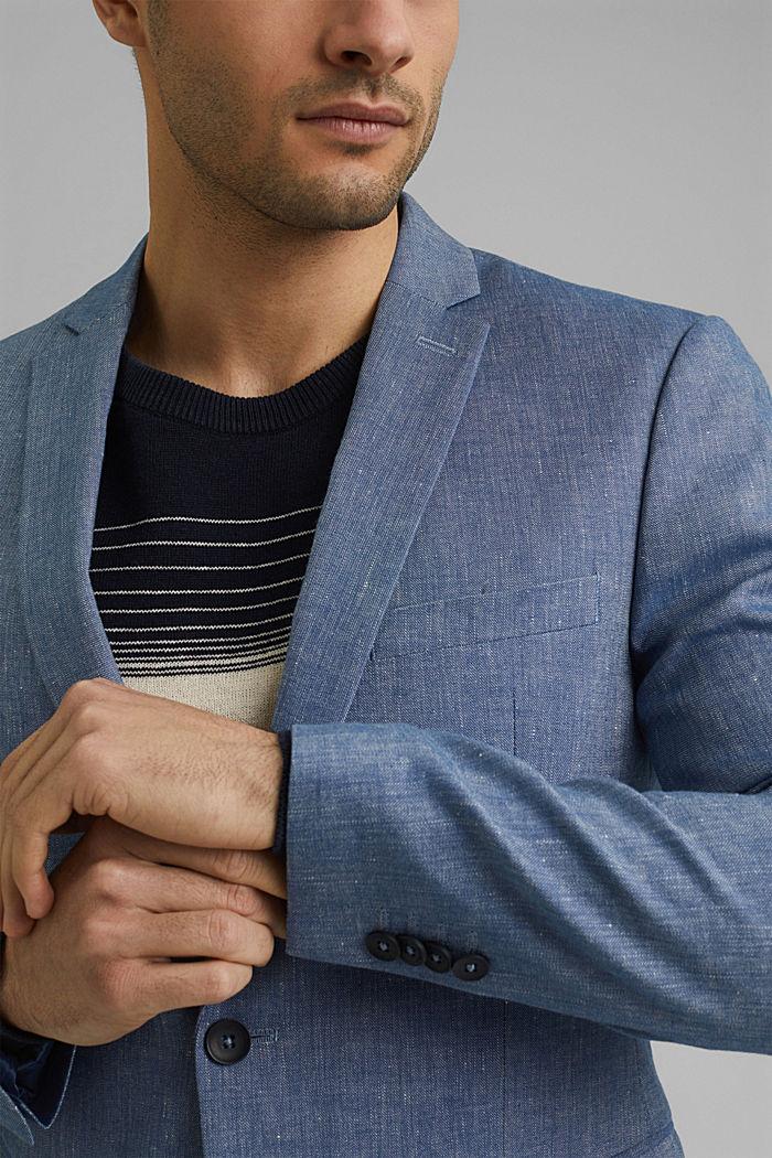 En lin bio mélangé: la veste finement texturée, BLUE, detail image number 2