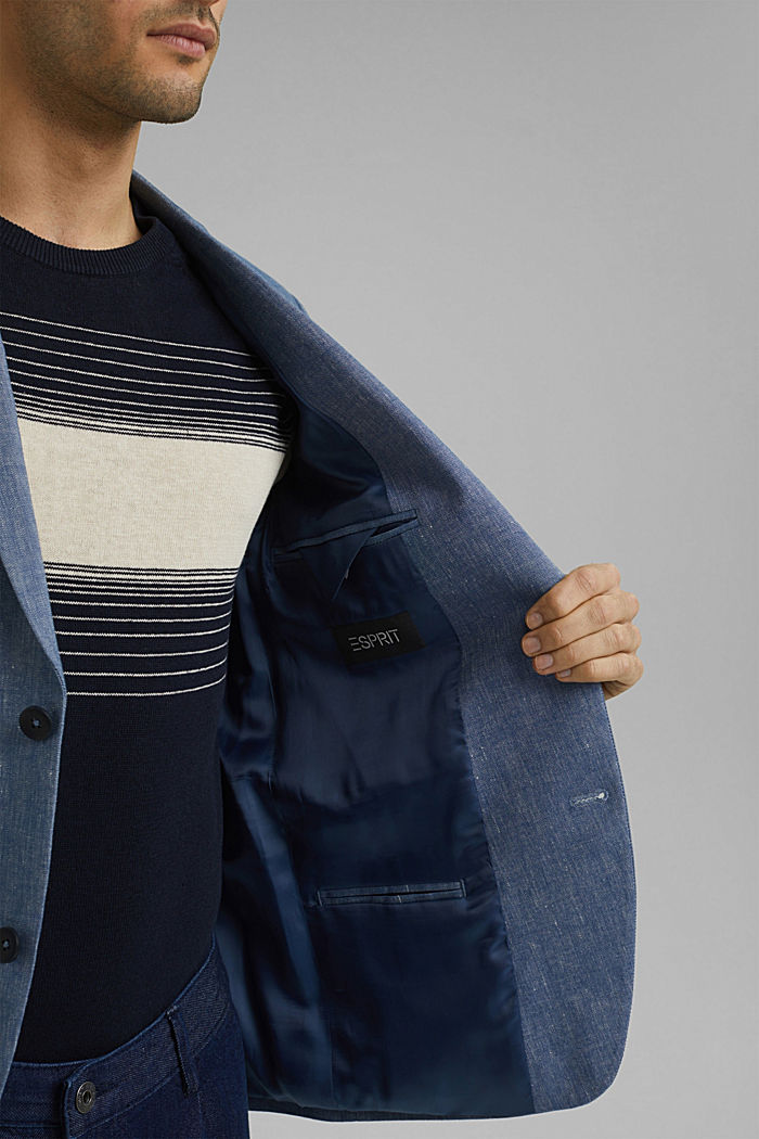 Sports jacket with a fine texture made of an organic cotton/linen blend, BLUE, detail image number 6