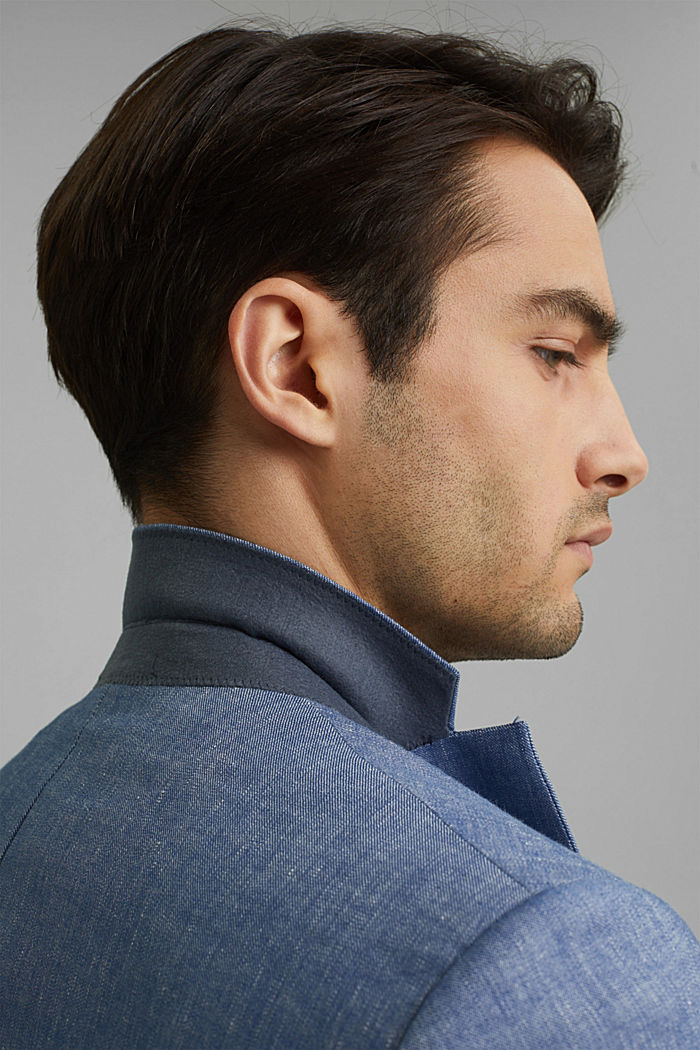 En lin bio mélangé: la veste finement texturée, BLUE, detail image number 5