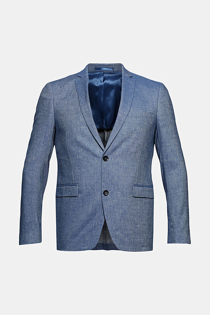Sports jacket with a fine texture made of an organic cotton/linen blend, BLUE, detail image number 7