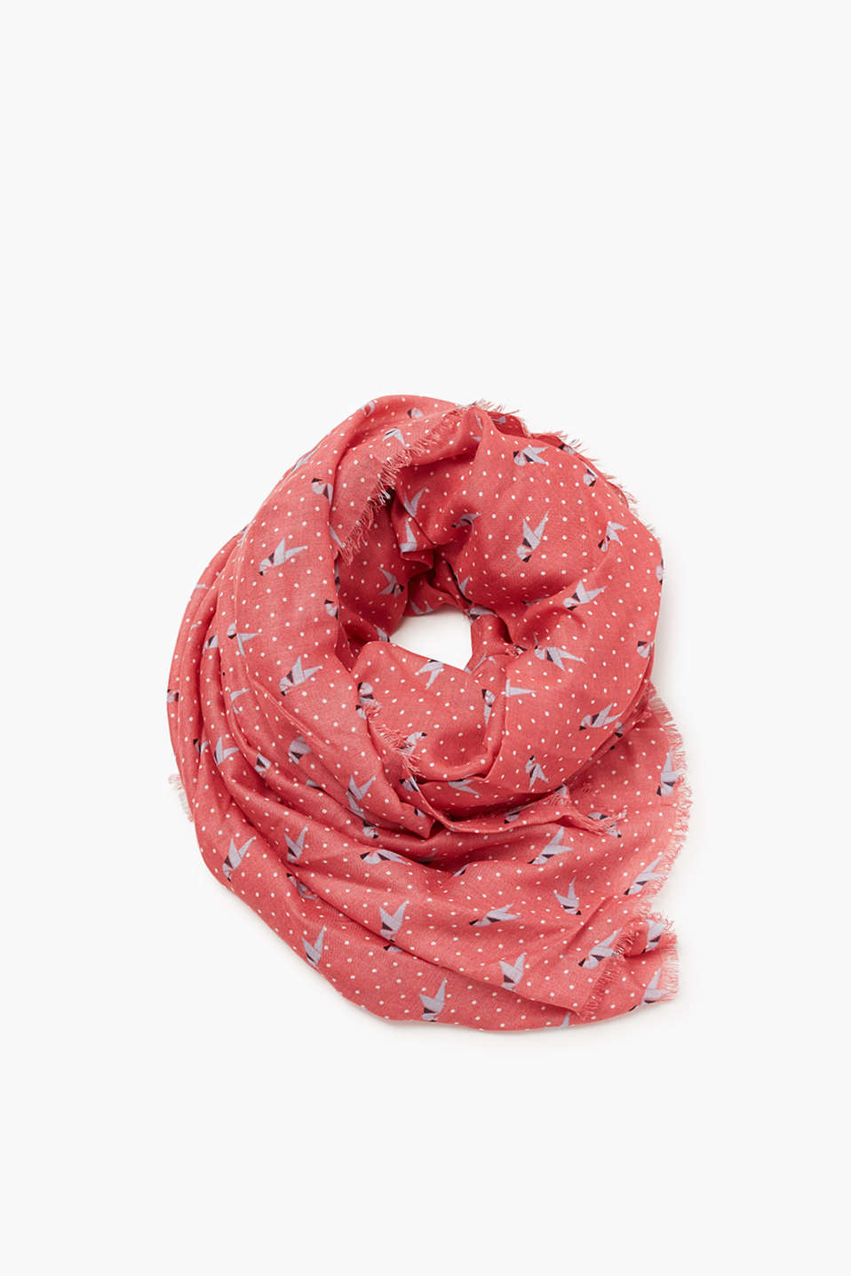 Voluminous scarf with an all-over print and a cool texture